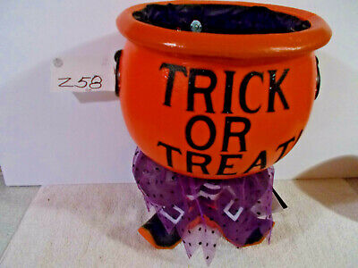 Yikes 13 Inch Witch's Cauldron Light Up Orange Candy Bowl with Spooky Halloween