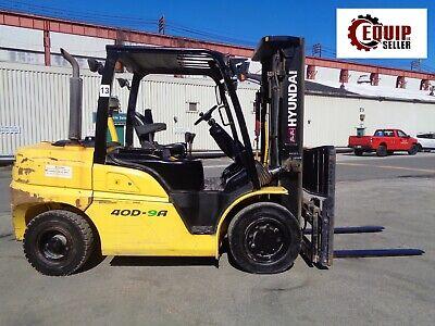 2015 Hyundai 40d9a 9000lb Forklift Boom Truck Diesel