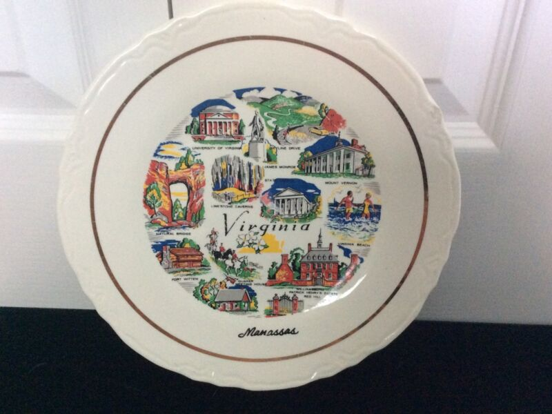 Vintage Conrad Crafters Collectible Virginia State Souvenir Plate 9.25 In.