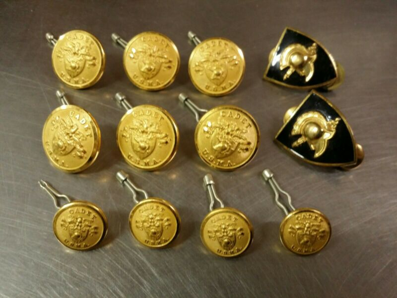 Lot of 12 West Point U.S.M.A. Military Academy Cadet Buttons & Firstie Insignia