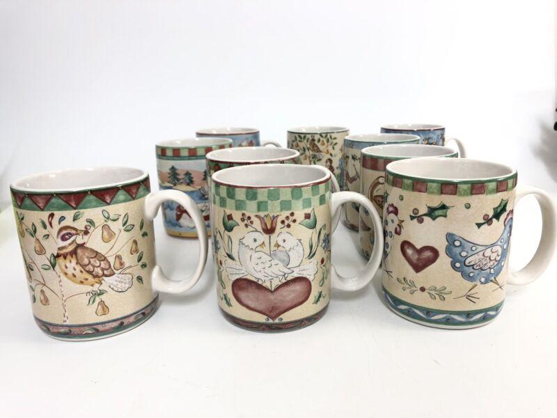 222 Fifth 12 Days of Christmas Coffee Mug Tea Cup 10oz INCOMPLETE Set of 10