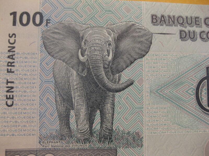 Congo Banknote, 100 Francs Bull Elephant, paper money, Neat animal note