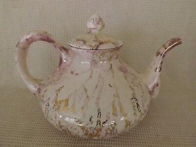 Sascha Brastoff Surf Ballet Tea Pot Pink & Gold California  MCM  teapot 1950s