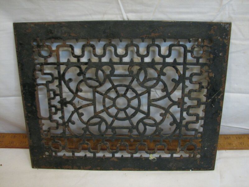 Old Cast Iron Floor Ornate Register Heat Grate Vent Grille Architectural 11 X 14