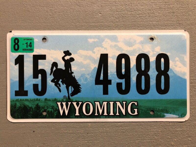 WYOMING LICENSE PLATE BUCKING BRONCO MOUNTAINS 🏔 RANDOM LETTERS/NUMBERS