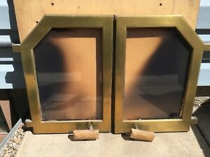 Solid brass doors for fireplace