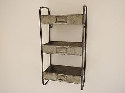 Vintage Industrial Galvanised Metal Wall Unit Shelves Cabinet Storage