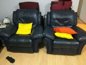 Pair of Recliner sofas (genuine leather)