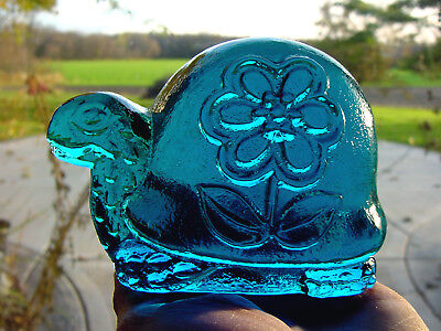 ViNTaGe BLuE ViKiNG ArT GLaSs TORTOISE ~ Turtle Paperweight ~ Figurine Sculpture