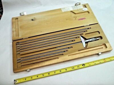 Scherr-tumico Machinist 5 Thru 12 Depth Micrometer Set .001 Made In Usa