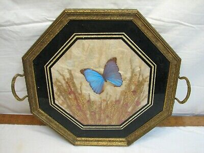 Vintage Iridescent Butterfly Wing Weed n Seed Folk Art Serving Wood Tray Octagon