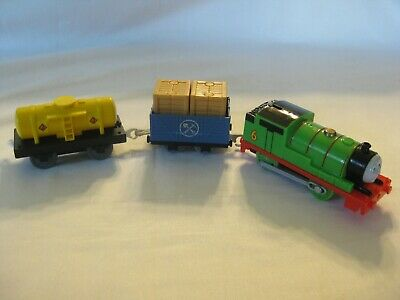Thomas & Friends Trackmaster Motorized Train 2013 Percy #6 & 2 Cars Tested