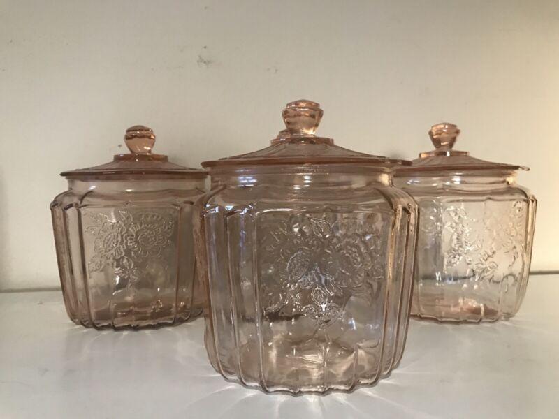SET Of 4 ANCHOR HOCKING PINK DEPRESSION GLASS COOKIE/BISCUIT JAR MAYFAIR