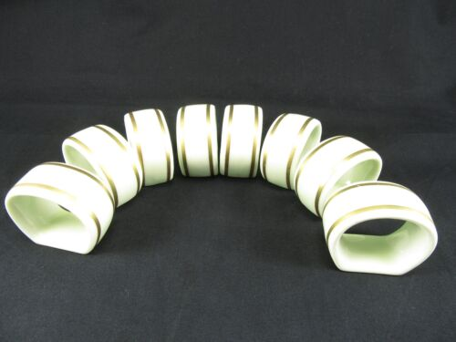 8 Gorham Bone China cream ivory Gold Trimmed Napkin Rings