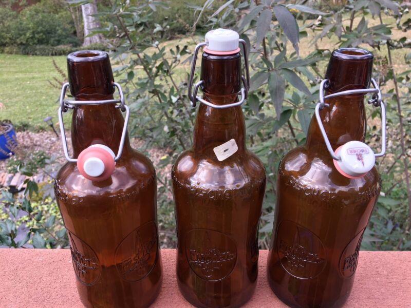 Home Brew FISCHER Brown Glass Embossed Beer Bottle Porcelain Swing Top reusable