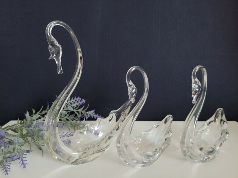 Decorative Glass Swan Set of 3