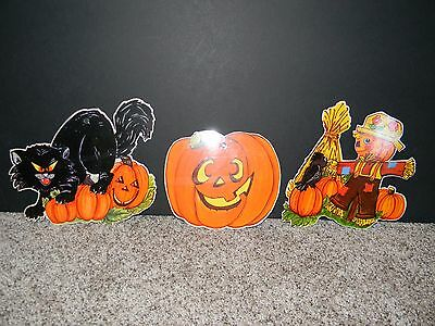 Vintage Lot of 3 Die-Cut Halloween Black Cat Scarecrow Jack O Lantern Laminated