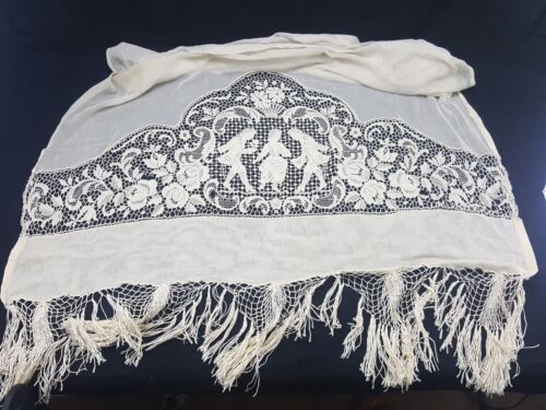 Antique White Embroidered Curtain Panel SET OF 2 Matching 19th century 1800