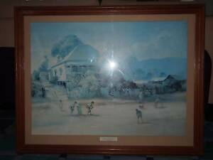 "D'arcy Doyle ""The Cricket Match"" Large Wooden Framed Limited Edit Brisbane City Brisbane North West Preview"