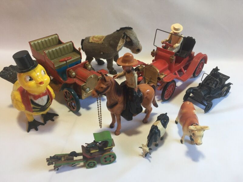 Vintage Toy Lot, Wind Up Litho Model T Reliable Horse & Rider Antique Japan