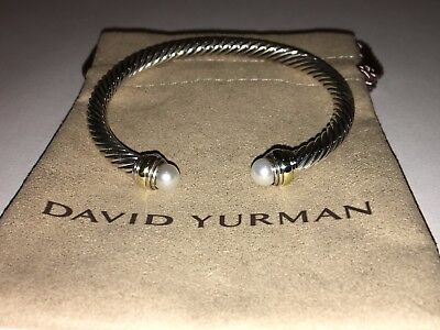 David Yurman Sterling Silver Cable Classic Bracelet With Pearl and 14K Gold 5mm