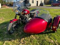 Triumph Bonneville and sidecar with hand controls
