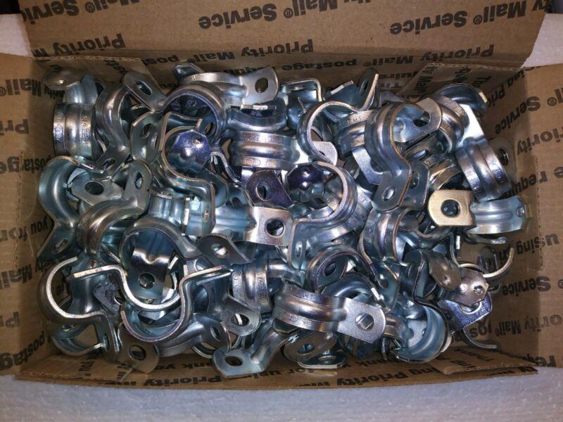 """3/4"""" Electrical EMT Conduit Straps (100 Halex Zinc-Plated Straps)"""