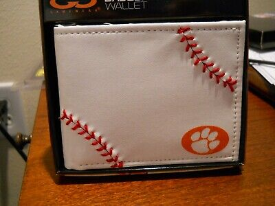 NCAA Clemson Tigers Leather Wallet, White-Red Stitching-Credit Card -