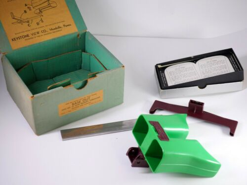 KEYSTONE Stereoscope No. 50 Home Training + stereoviews cards GREEN - LS7