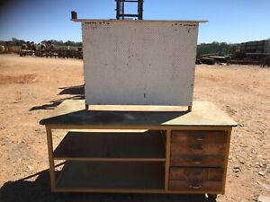Steel frame work bench with wooden drawers on caster wheels 75 Wamuran Caboolture Area Preview