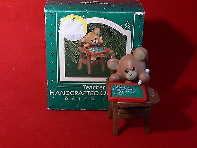 1987 - Hallmark Teacher Handcrafted Christmas Ornament - Teddy Bear