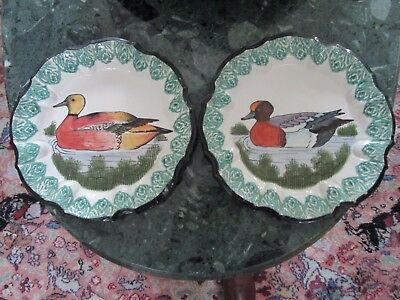 ANTIQUE FAIENCE MAJOICA EARTHERN WARE 2 DUCK PLATES SET4 {#188], used for sale  Shipping to Canada