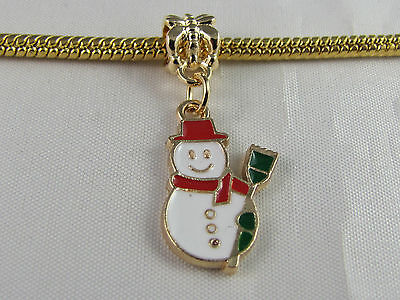 Gold Enameled Snowman Charm (GOLD PL ENAMEL SNOWMAN DANGLE CHARM FOR EUROPEAN STYLE CHARM BRACELETS  (DC)