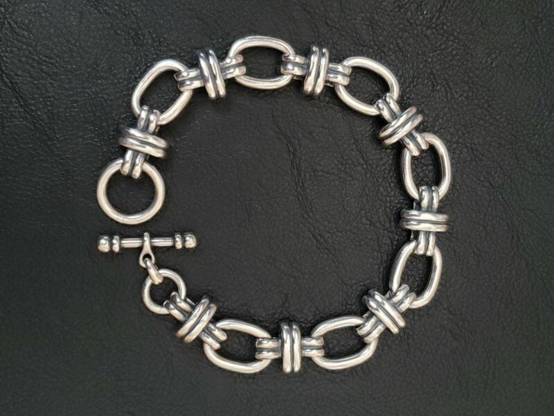 "Heavy James Avery Retired Couplet Link Sterling Silver Link Toggle Bracelet 7.5"""