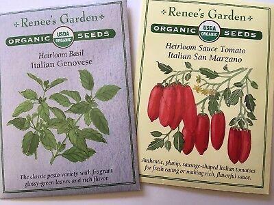 Renee's Garden Organic Seeds Italian Set Genovese Basil San Marzano Sauce Tomato