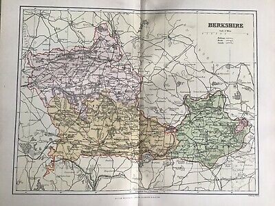Old Antique Map c1892, BERKSHIRE, England, County Map, FS Weller