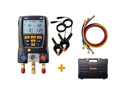 Testo 0563 2550 - 550 Digital Manifold Kit W Bluetooth Hoses Clamp Probes