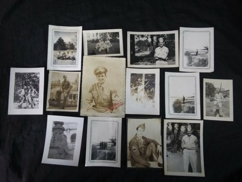 Lot 12 Vtg WW2 Photos US Soldiers - France ~ Mountain Cliff ~ PFC
