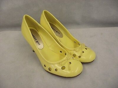 Madden Girl Women's 8 Yellow Pump Heels Shoes with Circle Cutouts and Bow NWT