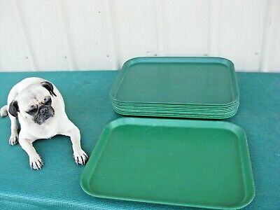 Lot Of 10 Vintage Cambro Camtray Serving Trays Green Fiberglass Size 16x 12