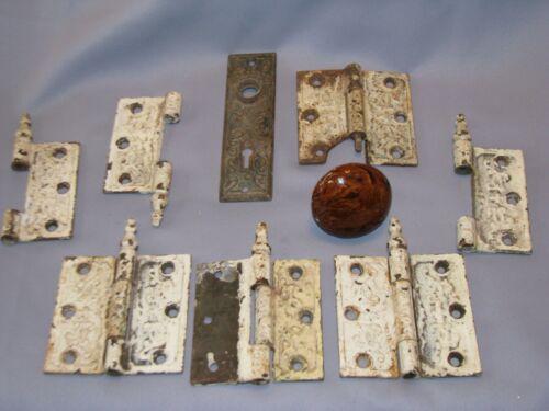 Antique lot cast iron ornate Victorian door hinges old paint door knob