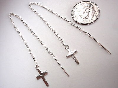 (Christian Cross Threader Earrings 925 Sterling Silver Corona Sun Jewelry)
