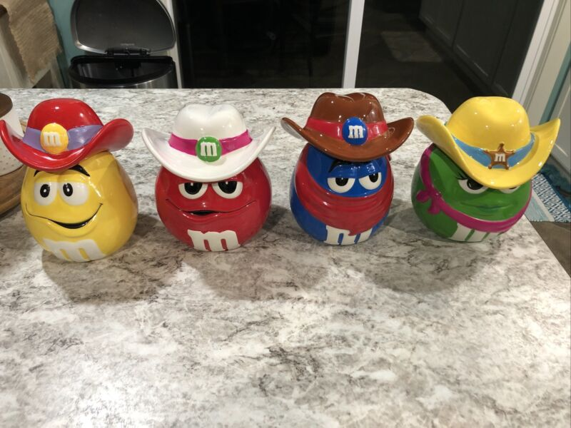 Lot 4: Cowboy Cookie Candy Jars Red Yellow Green Blue Hat Bandana