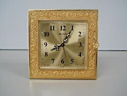Vtg. Bulova 8 Table Clock w/Brass Case