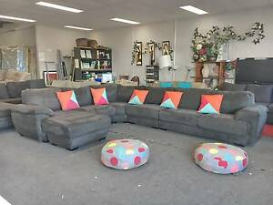 TODAY DELIVERY LUXURY RARE HUGE GREY U modular corner sofa lounge Belmont Belmont Area Preview