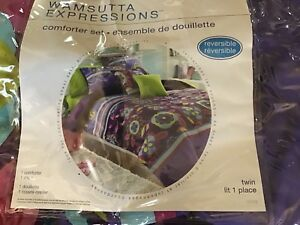 Girls Twin Comforter Set - Like New - Purple/Pink/Aqua