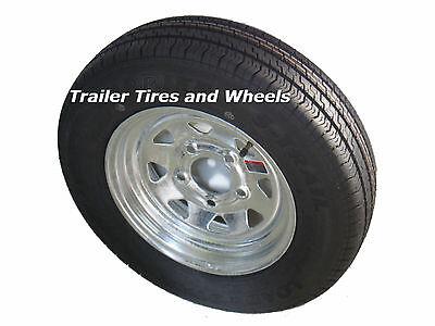 "145R12 LRD 8 PR Radial Trailer Tire  on 12"" 5 Lug Galvanized Spoke Steel Wheel"