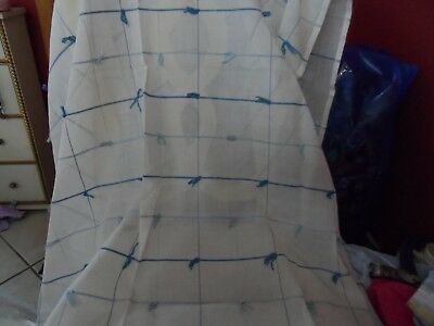 "sheer off white square tablecloth 53"" x 52""  with blue knots for card table"