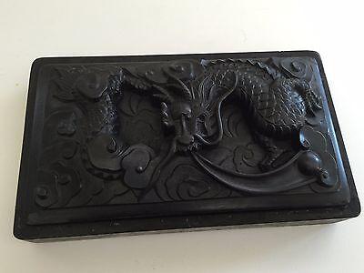"""Vintage Korean Dragon Calligraphy Ink Stone 8.5"""" X 5"""" X 2 1/4"""""""