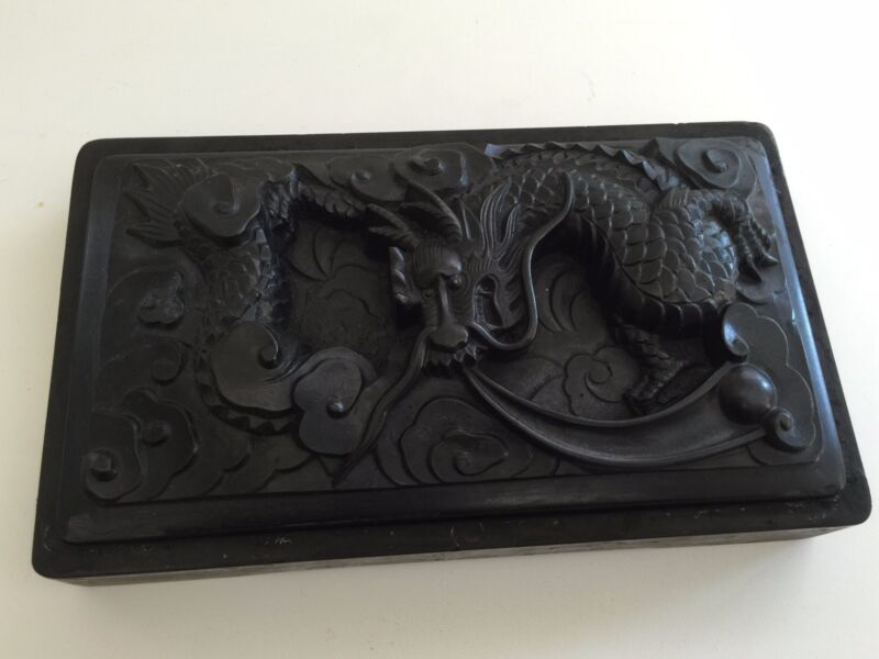 "Vintage Korean Dragon Calligraphy Ink Stone 8.5"" X 5"" X 2 1/4"""